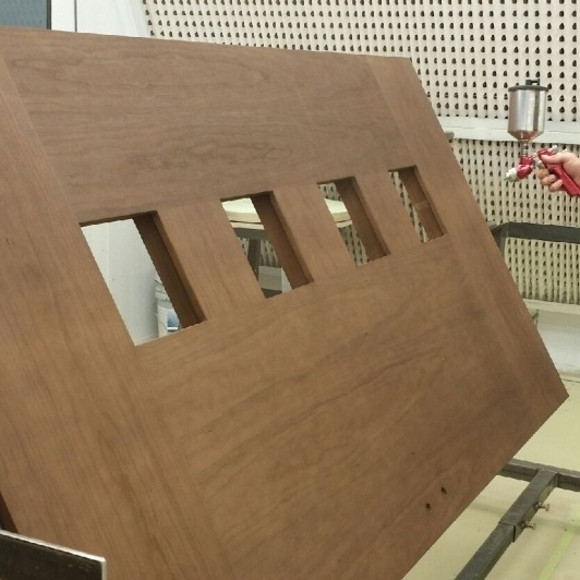 Professional Wood Finishing Spray Booth in Action